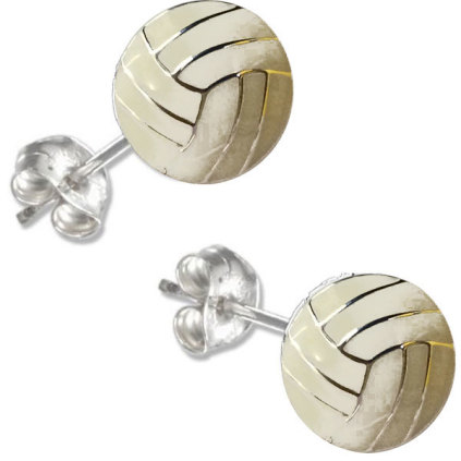 Enamel Post Volleyball Earrings