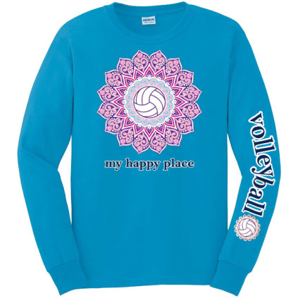Volleyball Is My Happy Place Long Sleeve T-Shirt