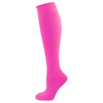 Neon Pink Solid Knee High Socks
